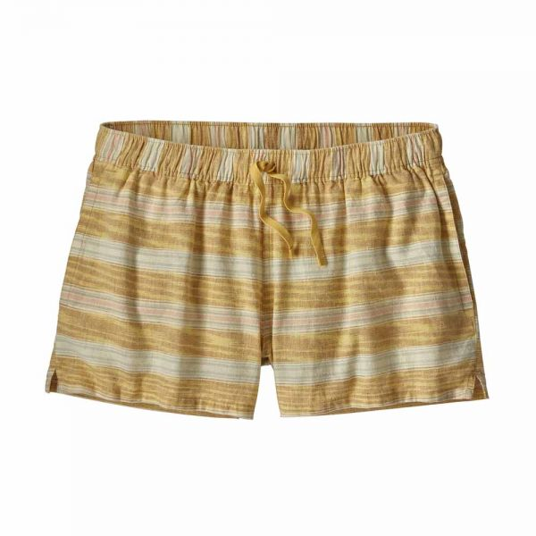 Patagonia W´s Island Hemp Baggies Shorts Damen Freizeitshort tarkine stripe small surfboard yellow