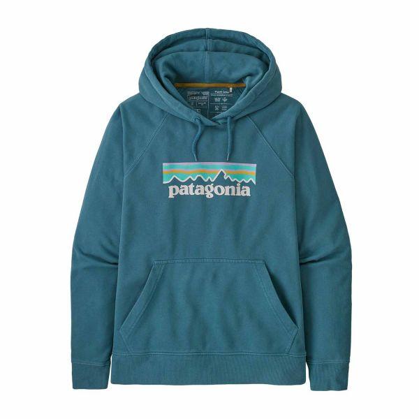 Patagonia Woman's Pastel P-6 Logo Organic Hoody Abalone Blue