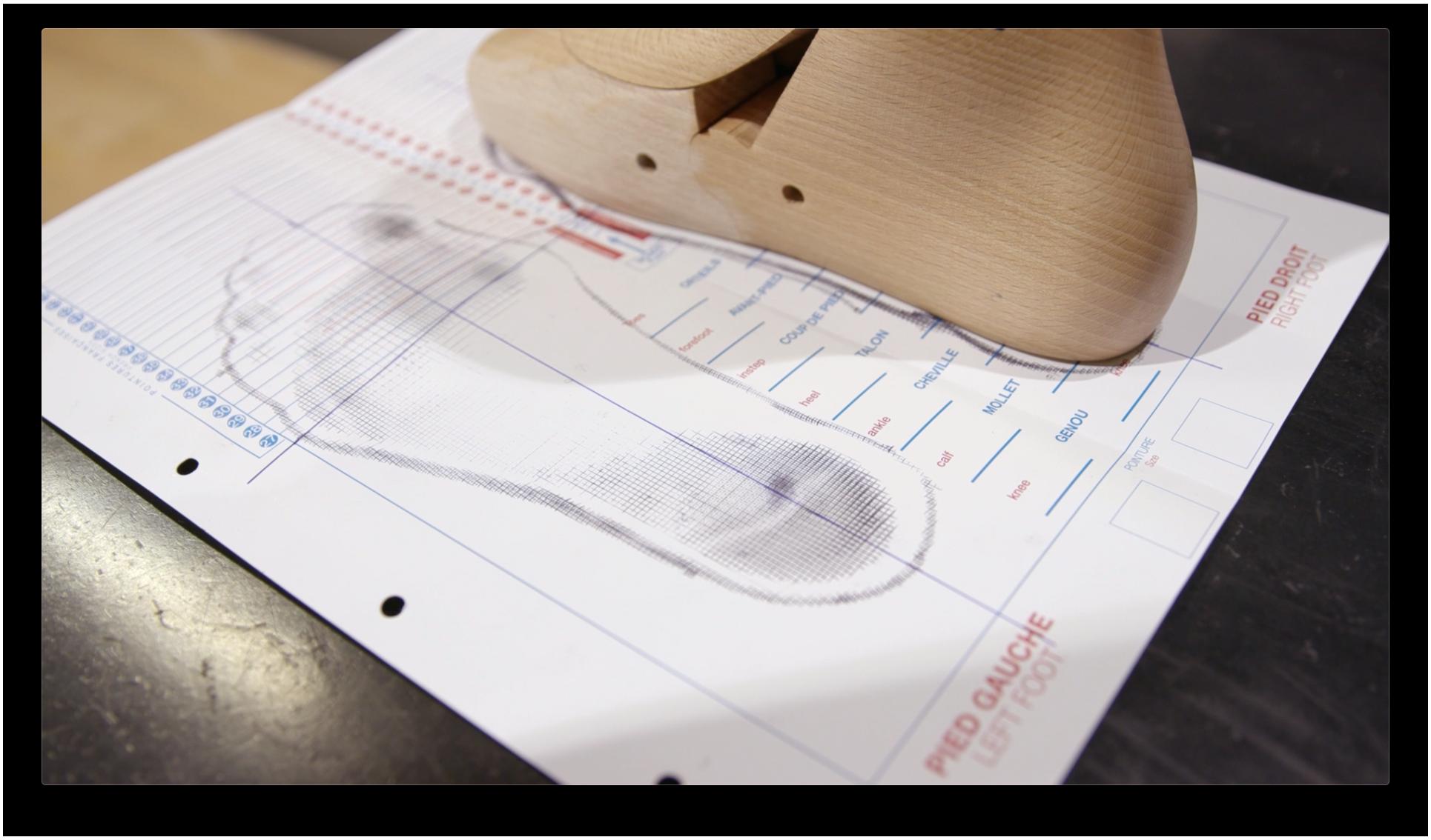 Fußabdruck und Maße sind auf das Blaupapier übertragen