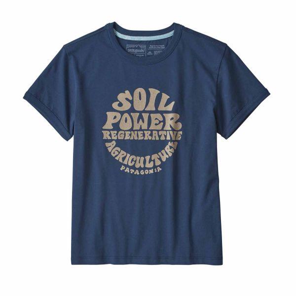 Patagonia W's Road to Regenerative Ringer Tee Damen T-Shirt Stone Blue