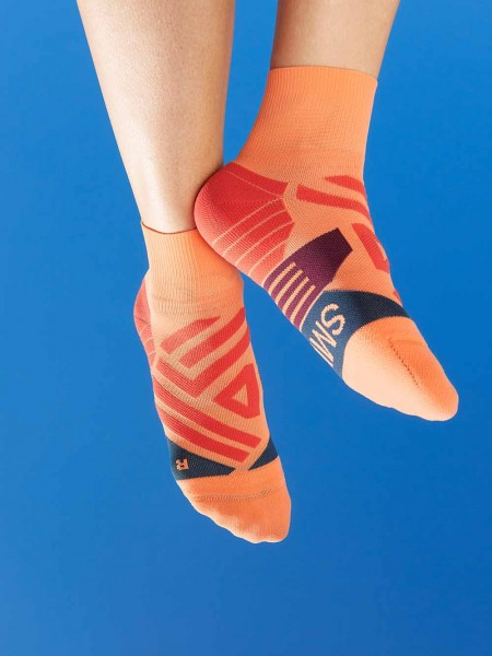 On Mid Socks Coral / Navy Damen