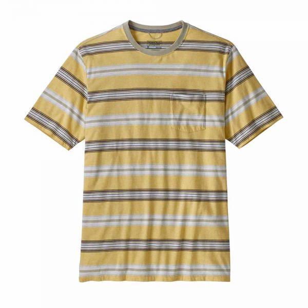 Patagonia M´s Squeaky Clean Pocket Tee Herren Shirt Tarkine Stripe: Surfboard Yellow/Weathered Stone