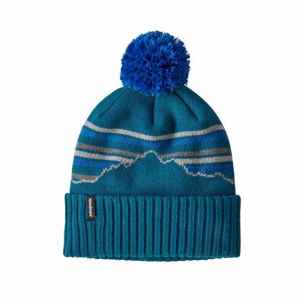 Patagonia Powder Town Beanie Fitz Roy Retro Stripe Knit: Crater Blue