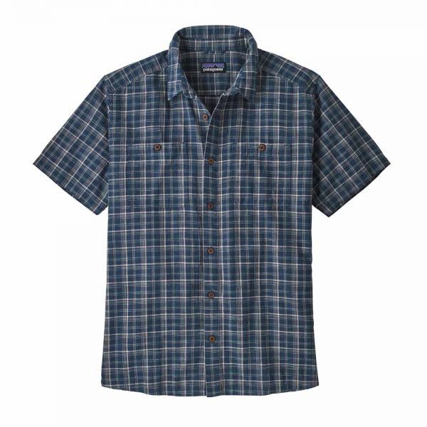 Patagonia M´s Back Step Shirt Herrenhemd founder stone blue