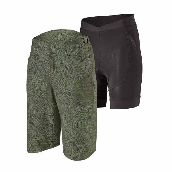 Patagonia W's Dirt Craft Bike Shorts Retro Layers: Camp Green