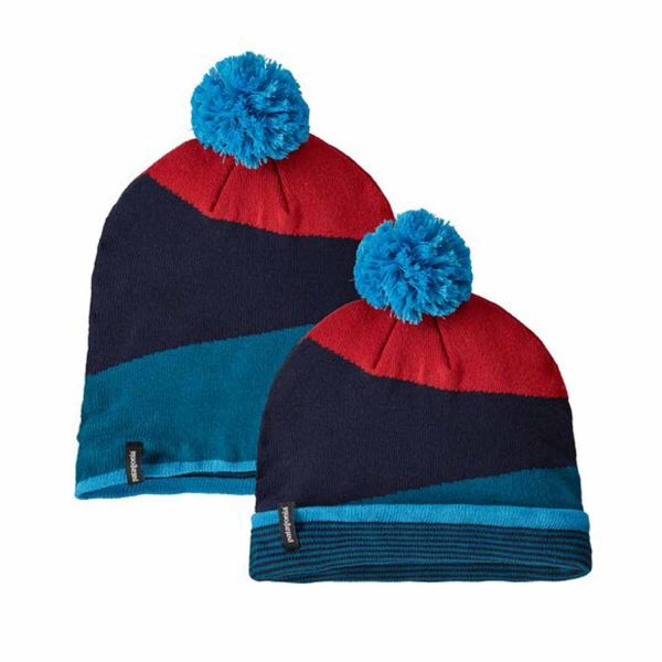 Patagonia LW Powder Town Beanie Field Festival Knit: Crater Blue