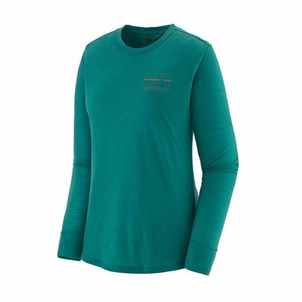 Patagonia Women's Long-Sleeved Capilene® Cool Merino Graphic Shirt ´73 Skyline: Dark Borealis Green