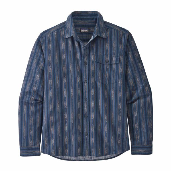 Patagonia Men´s LW Fjord Flannel Shirt Ikat Rows: Stone Blue