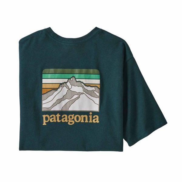Patagonia Men's Line Logo Ridge Pocket Responsibili-Tee® Dark Borealis Green