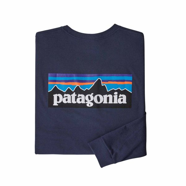 Patagonia Men's Long-Sleeved P-6 Logo Responsibili-Tee® Classic Navy