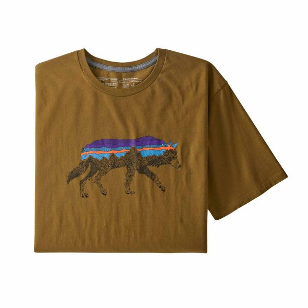 Patagonia M's Back For Good Organic T-Shirt mulch brown w/Wolf
