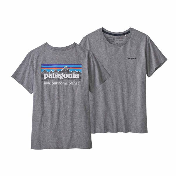 Patagonia Woman's P-6 Mission Organic T-Shirt Gravel Heather