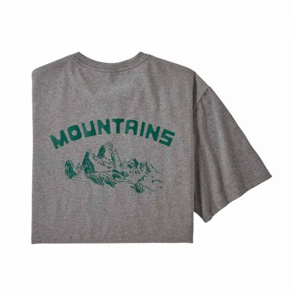 Patagonia M's Playlands Responsibili-Tee Herren T-Shirt Gravel Heather Mountains
