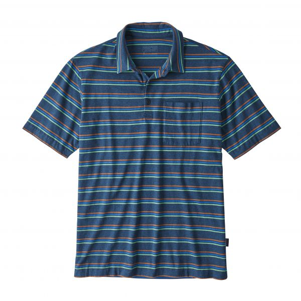 Patagonia M's Organic Cotton LW Polo Pacific Stripe: Stone Blue